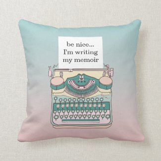 Vintage Pink and Teal Typewriter Customizable Text Throw Pillow