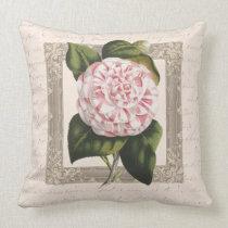Vintage Pink and White Camellia Throw Pillow