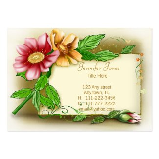 Vintage Pink and Yellow Floral Business Card