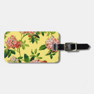vintage pink and yellow flowers luggage tag