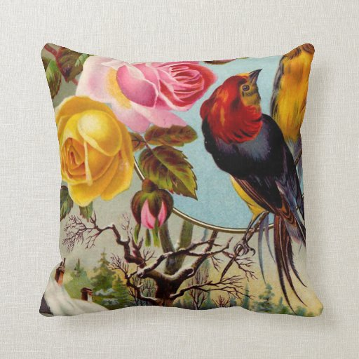 Vintage Pink and Yellow Roses and Birds Throw Pillow Zazzle