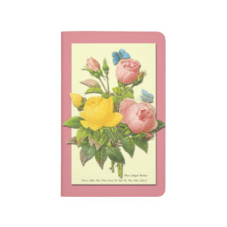 Vintage Pink and Yellow Roses Blank Journal