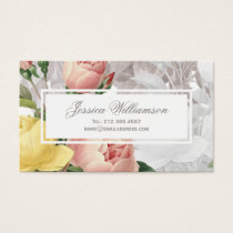Vintage Pink and Yellow Roses Feminine Floral Business Card