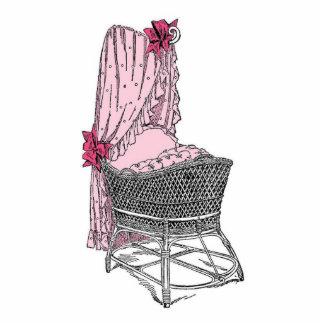 Vintage Pink Baby Bassinet Cutout
