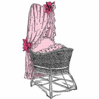 Vintage Pink Baby Bassinet Statuette