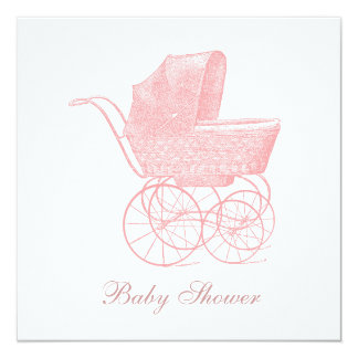 Vintage Pink Baby Carriage Baby Girl Shower Card