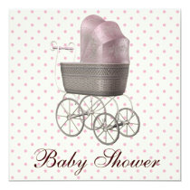 Vintage Pink Baby Carriage Baby Girl Shower 5.25x5.25 Square Paper Invitation Card