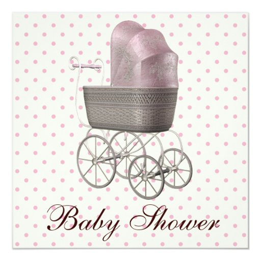 Vintage Pink Baby Carriage Baby Girl Shower Invitation
