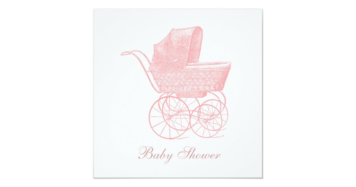 Vintage Pink Baby Carriage Baby Girl Shower Invitation Zazzle Com