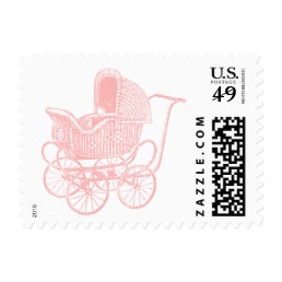 Vintage Pink Baby Carriage Baby Shower Postage