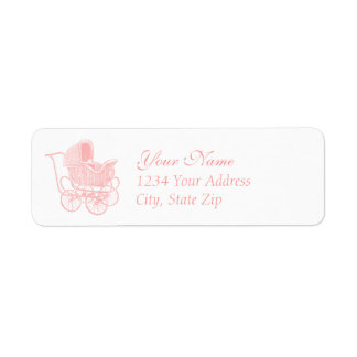 Vintage Pink Baby Carriage Label