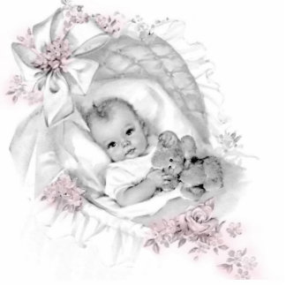 Vintage Pink Baby Girl Shower Acrylic Cut Out