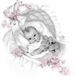 Vintage Pink Baby Girl Shower Statuette