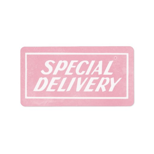 Vintage Pink Baby Girl Special Delivery Sticker Label Zazzle