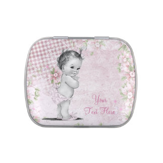 Vintage Pink Baby Shower Candy and Mint Jelly Belly Tin