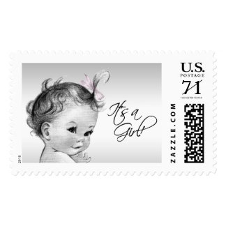 Vintage Pink Baby Shower Postage Stamp