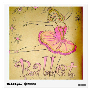 Vintage Pink Ballerina Bedroom Decal Wall Skins