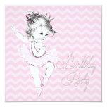 Vintage Pink Ballerina Birthday Party Invitations