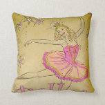 Vintage Pink Ballerina Design Pillow