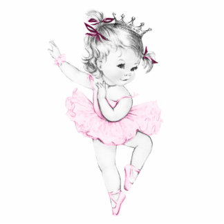 Vintage Pink Ballerina Princess Baby Girl Shower Cutout