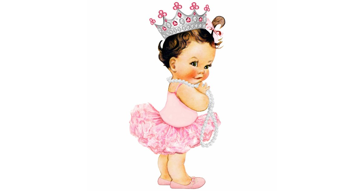 Vintage Pink Ballerina Princess Baby Girl Shower Cutout