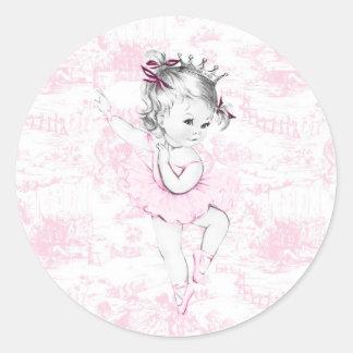 Vintage Pink Ballerina Princess Baby Shower Classic Round Sticker