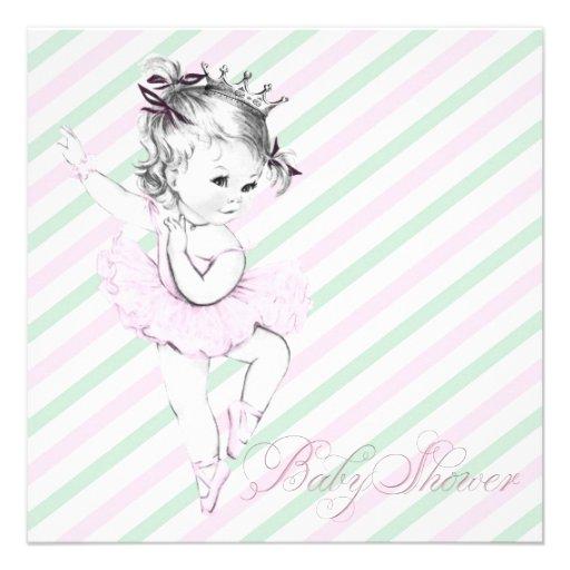 Personalized ballerina baby shower invitations custominvitations4u vintage pink ballerina princess baby shower custom invitations filmwisefo