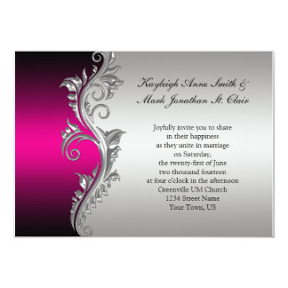 Vintage Pink Black and Silver Wedding Invitation