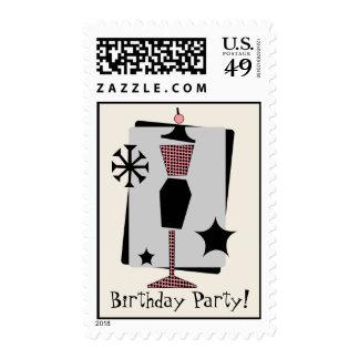 Vintage Pink & Black Dress Form Birthday Party Postage Stamp