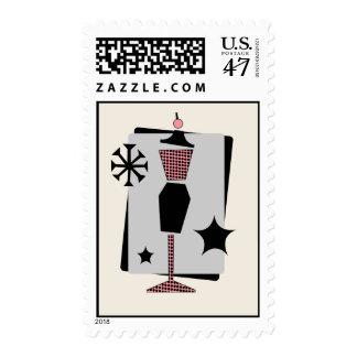 Vintage Pink & Black Dress Form Stamp