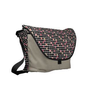 Vintage Pink & Black Polka Dots Messenger Bag