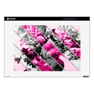 """Vintage Pink Black White Floral Stripes Glitter 15"""" Laptop Skin"""