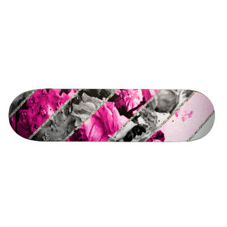 Vintage Pink Black White Floral Stripes Glitter Skateboard Deck