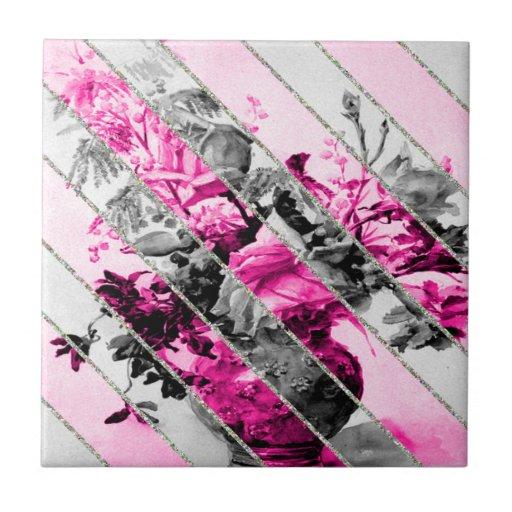 Vintage Pink Black White Floral Stripes Glitter Tile