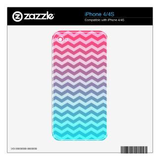 Vintage Pink Blue Chevron Zig Zag Pattern iPhone 4 Skin
