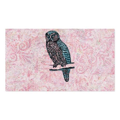Vintage Pink Blue Cute Owl Business Card