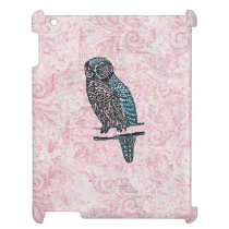 Vintage Pink Blue Cute Owl iPad Cover