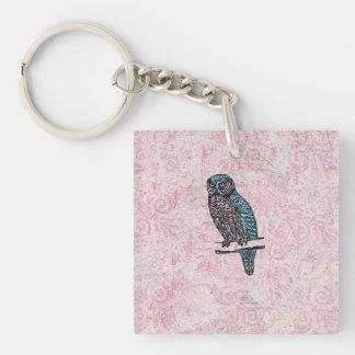 Vintage Pink Blue Cute Owl Keychain