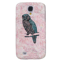 Vintage Pink Blue Cute Owl Samsung Galaxy S4 Cover
