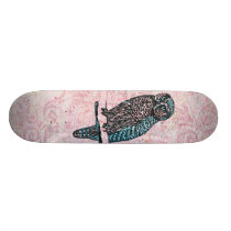 Vintage Pink Blue Cute Owl Skateboard Deck