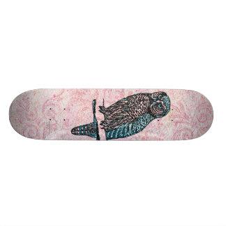 Vintage Pink Blue Cute Owl Skateboard Deck