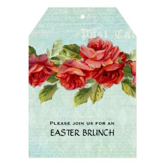 Vintage Pink Blue Floral Easter Brunch 5x7 Paper Invitation Card