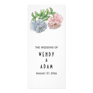 Vintage pink, blue peonies floral wedding program