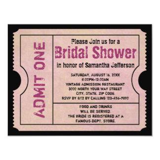 Vintage Pink Bridal Shower Ticket Invitations
