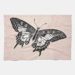 Vintage Pink Butterfly Illustration - Butterflies Kitchen Towel