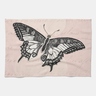 Vintage Pink Butterfly Illustration - Butterflies Kitchen Towel