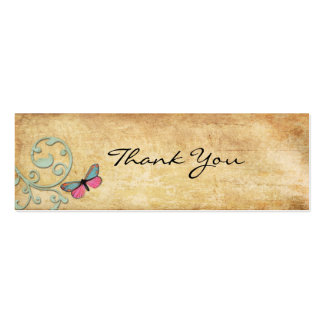 Vintage Pink Butterfly Thank You Note Business Card Template