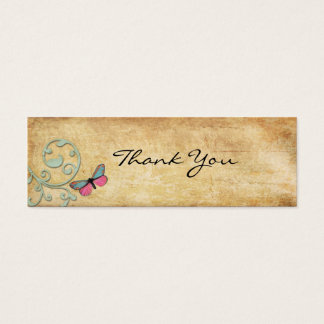 Vintage Pink Butterfly Thank You Note Mini Business Card