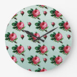Vintage Pink Cabbage Roses Clocks