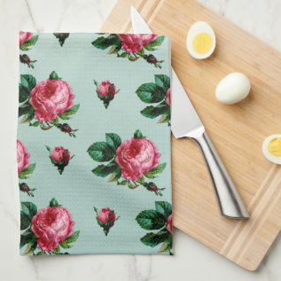 Vintage Pink Cabbage Roses Kitchen Towel at Zazzle